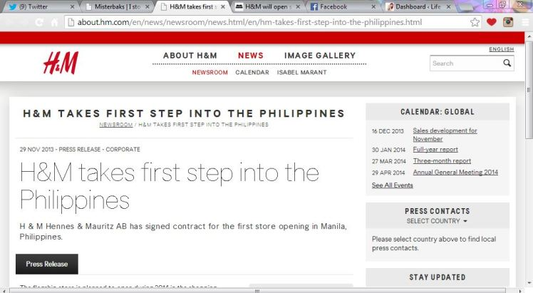 H&M Opens in manila by 2014